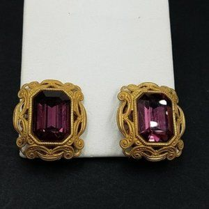 Authentic Miriam Haskell Purple Stone Earrings